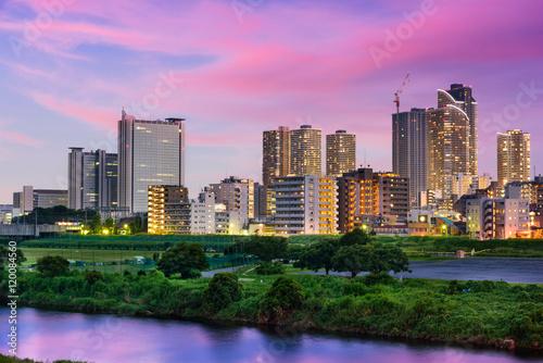Fotografie, Obraz Kawasaki, Japan downtown skyline.