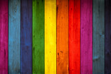 Fototapeta Tęcza - color wood background, rainbow colorful wooden wall.