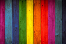 Color Wood Background, Rainbow...