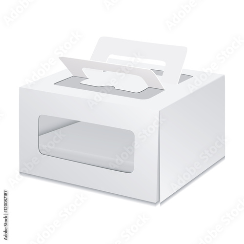 White Cardboard Carry Box Packaging For Cake Toy Electronics Gift Or Other Products Ilration Isolated On Background Mock Up Template Ready