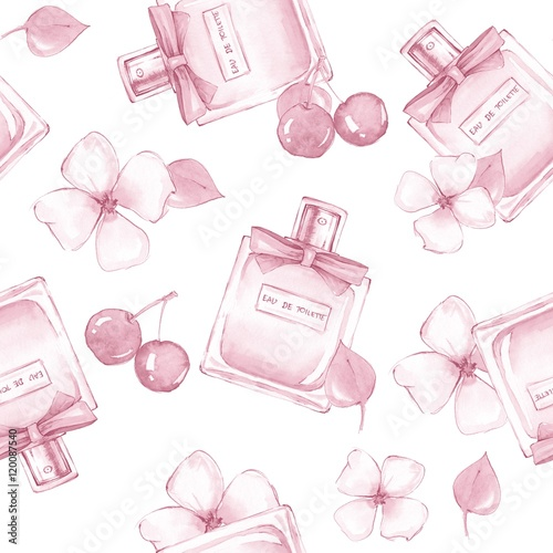 Cotton fabric Bottle of perfume and flowers. Seamless pattern 8. Background. Hand painted