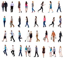"Collection "" Back View Of Walking People "". Going People In Motion Set.  Backside View Of Person.  Rear View People Collection. Isolated Over White Background. People Of Different Genders And In"