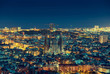 canvas print picture Barcelona skyline panorama at night, Spain