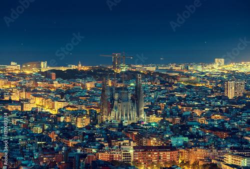 Plakat Barcelona linii horyzontu panorama przy nocą, Hiszpania