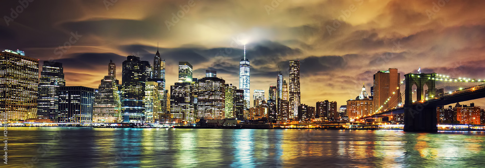 Fototapety, obrazy: View of Manhattan at sunset