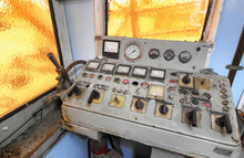 Control Room Of A Old Tugboat