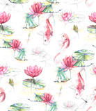 Hand-drawn watercolor seamless pattern in Japanese style. Repeated background with Koi carp fishes in the water with lotus flowers and leaves. Pattern for the textile and wallpapers - 120091946