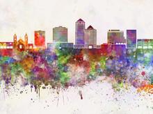 Albuquerque V2 Skyline In Watercolor Background