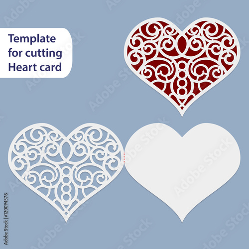 paper openwork wedding card heart shape greeting postcard