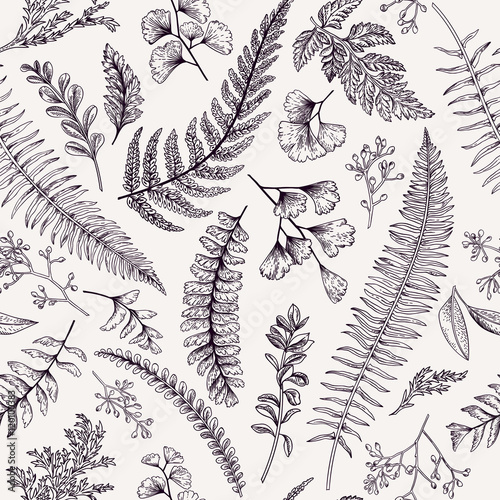 Valokuva  Seamless floral pattern with herbs and leaves.
