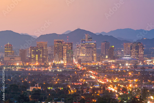 Canvas Prints Arizona Top view of downtown Phoenix Arizona