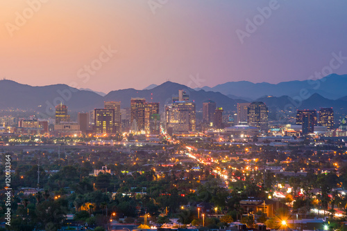 Foto auf Leinwand Arizona Top view of downtown Phoenix Arizona