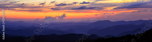 Poster Hill Panorama of sunset in mountains