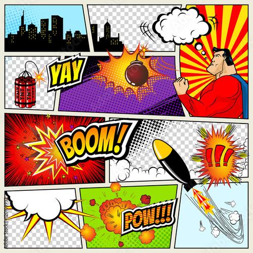 Zdjęcie XXL Szablon komiksu. Wektorowa Retro komiksu mowy bąbli ilustracja. Makieta strony z miejscem na tekst, bąbelki, symbole, efekty dźwiękowe, kolorowe tło w półtonach i superbohater
