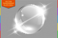 Abstract Glass Globe With Light Flares And Moving Light Effect. Transparent Ball Background