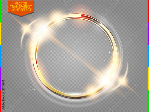Fototapeta Abstract luxury golden ring. Vector light circles and spark light effect. Sparkling glowing round frame on transparent. Sunny and cheerful background. Glow space for your message. obraz
