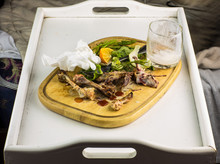 Remnants Of Food On A Tray, Ch...