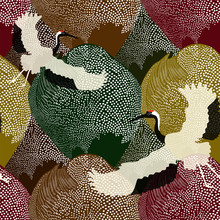 Abstract Illustration Of Two Japanese Cranes Flying Over A Field And Forest In The Background Pattern Of Polka Dots