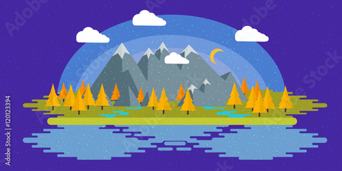 Spoed Foto op Canvas Violet Flat design nature landscape illustration with sun, hills and clouds.