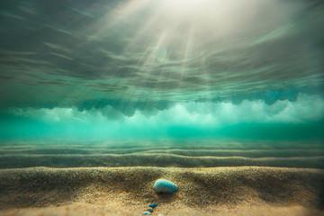 Fototapeta samoprzylepna Underwater background with sandy sea bottom