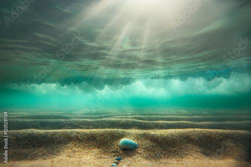 Plakat Podwodne tło z piaszczystym dnem morza