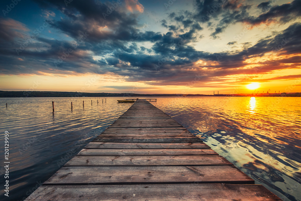 Fototapety, obrazy: Small Dock and Boat at the lake