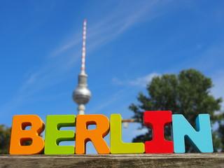 Panel Szklany Podświetlane Berlin Berlin Buchstaben: Fernsehturm am Alexanderplatz