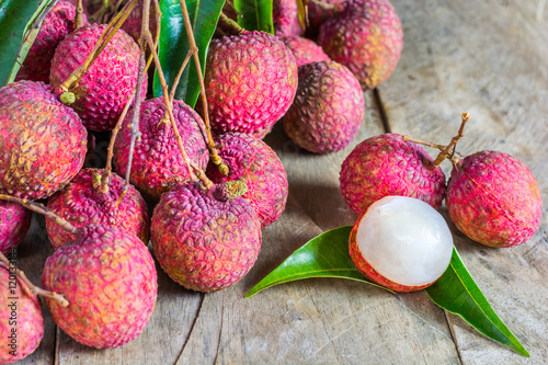 Lychee, Fresh lychee and peeled showing the red skin and white f