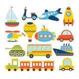Set of cartoon transport. Transportation theme