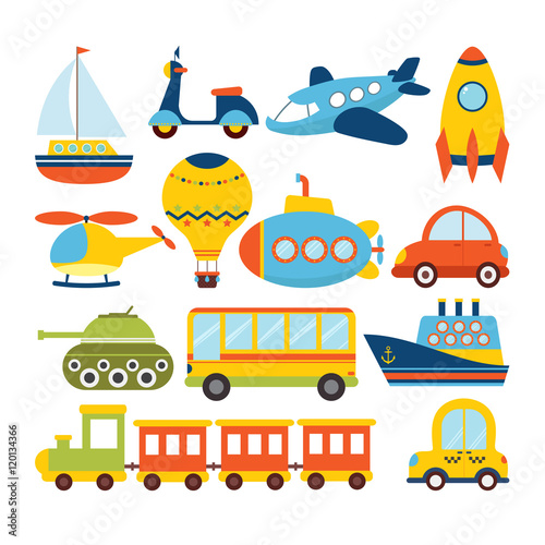 Foto op Canvas Cartoon cars Set of cartoon transport. Transportation theme