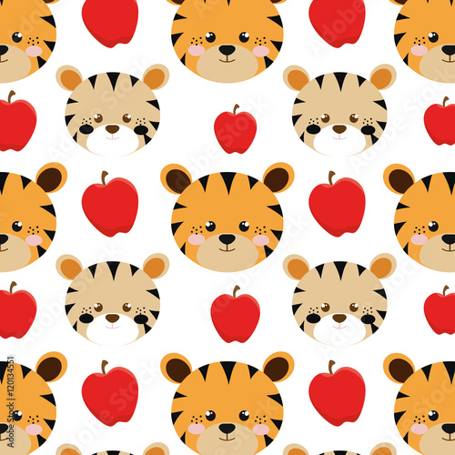 yellow tiger  animal character cute cartoon and red apples background. vector illustration