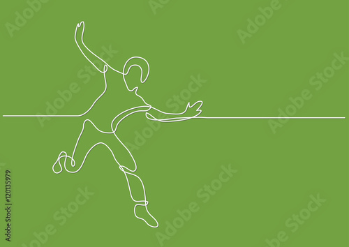 Fotografie, Obraz  continuous line drawing of happy running man