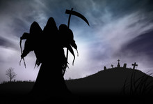 Illustration - Silhouette Of A Grim Reaper Or Fantasy Evil Spirit In A Graveyard At Night. Good For Background. Digital Painting.