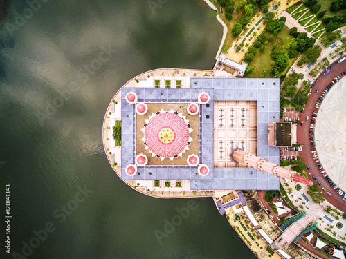 Aerial View of Putra Mosque in Kuala Lumpur, Malaysia