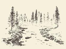 Hand Drawn Landscape River Forest Vintage Vector.