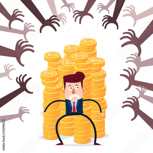 Fotografía  successful businessman guarding stack of gold coins from various financial threa