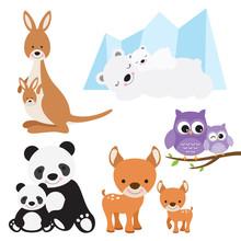 Vector Illustration Of Animal And Baby Including Kangaroo, Polar Bear, Owl, Panda And Deer.