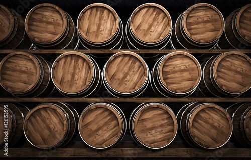 winemaking barrel 3d illustration Wallpaper Mural