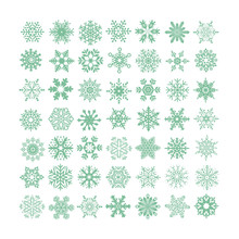 Collection Of Green Snowflakes On A White Background