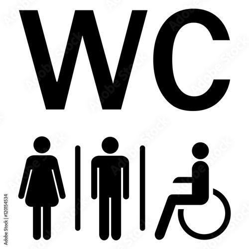 WC sign Men Women wheelchairs Canvas Print