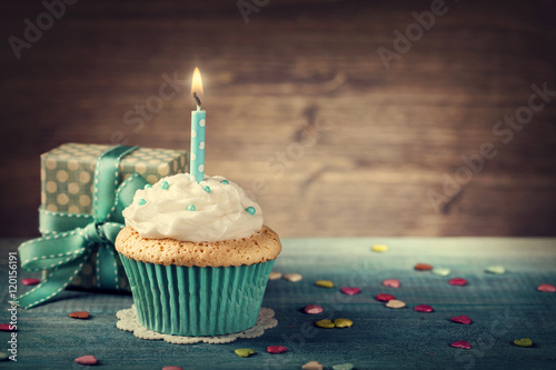 Cupcake with birthday candle Canvas Print