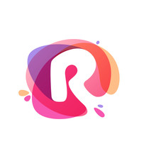 Letter R Logo At Colorful Wate...