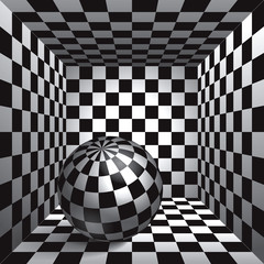 Panel Szklany Volume plaid sphere. The inside plaid room. Black and white cell box with a ball inside. 3d chess board, vector design background and object