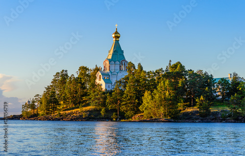 Valokuva  Saint Nicholas Island before sunset. Valaam Transfiguration  mon