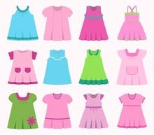Set Of Different Children's Dresses For Baby Girls. Vector Illus