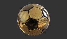 3D Illustration Golden Soccer ...