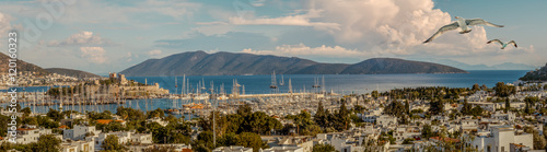 Aluminium Prints Dark grey Travel on Aegean Sea. Panorama of Bodrum harbor with yacht and island.