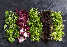 Different Fresh Salad On Dark ...