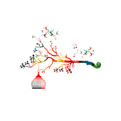 Creative music style template vector illustration, colorful violoncello pegbox, nature inspired instrument background. Design for posters, brochures, cards,banners, concert, music festival, music shop