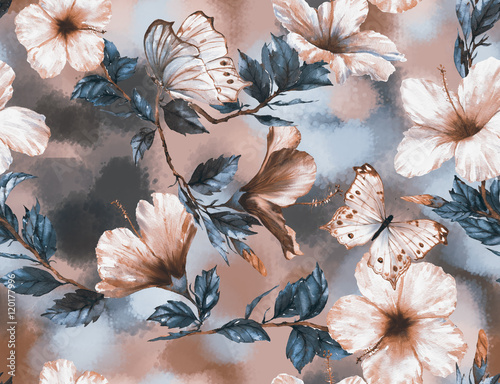 wektorowa-akwarela-w-kwiatowy-wzor-z-delikatnymi-bialymi-i-rozowymi-kwiatami-hibiskusa-i-motylami